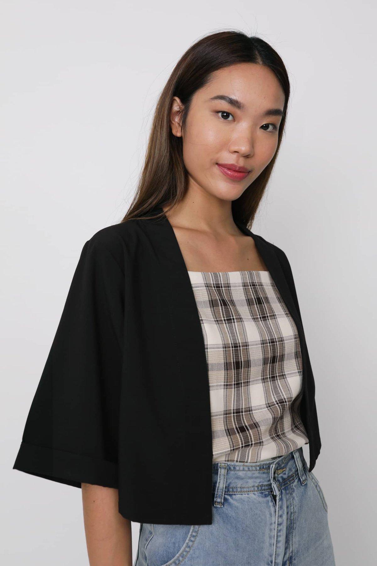 Astra Cropped Kimono (Black)