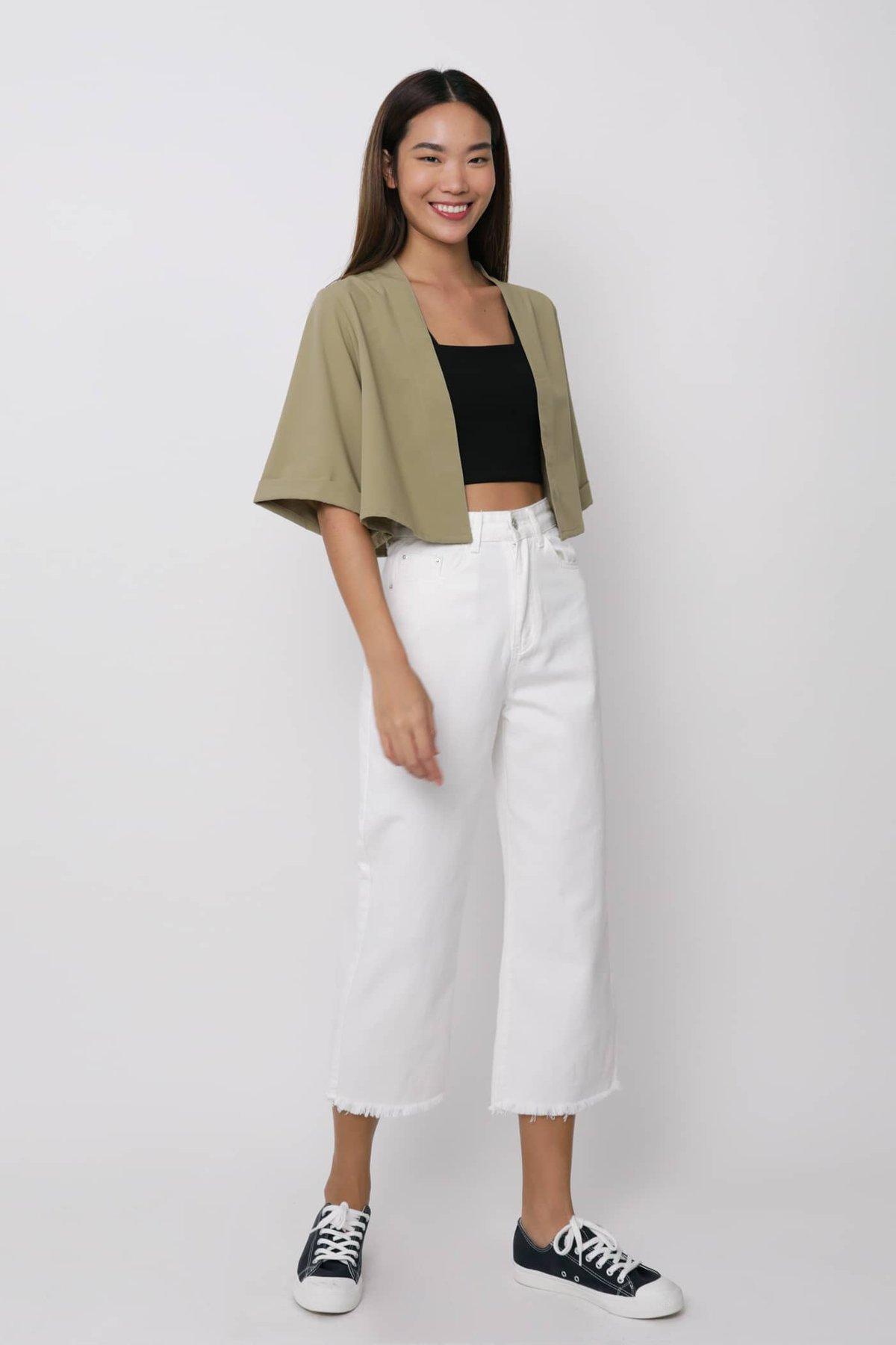 Astra Cropped Kimono (Sage)