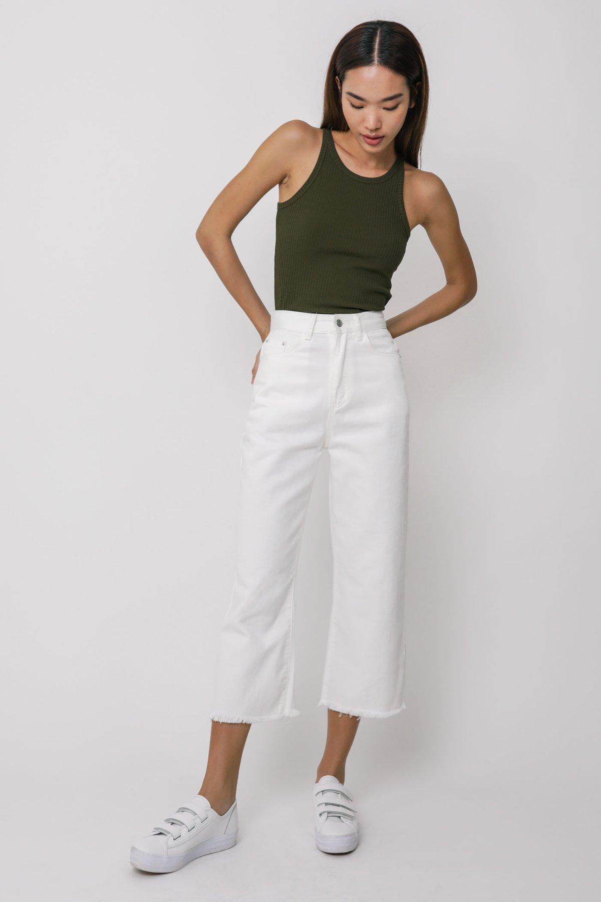 Bobby Frayed Straight Leg Jeans (White)