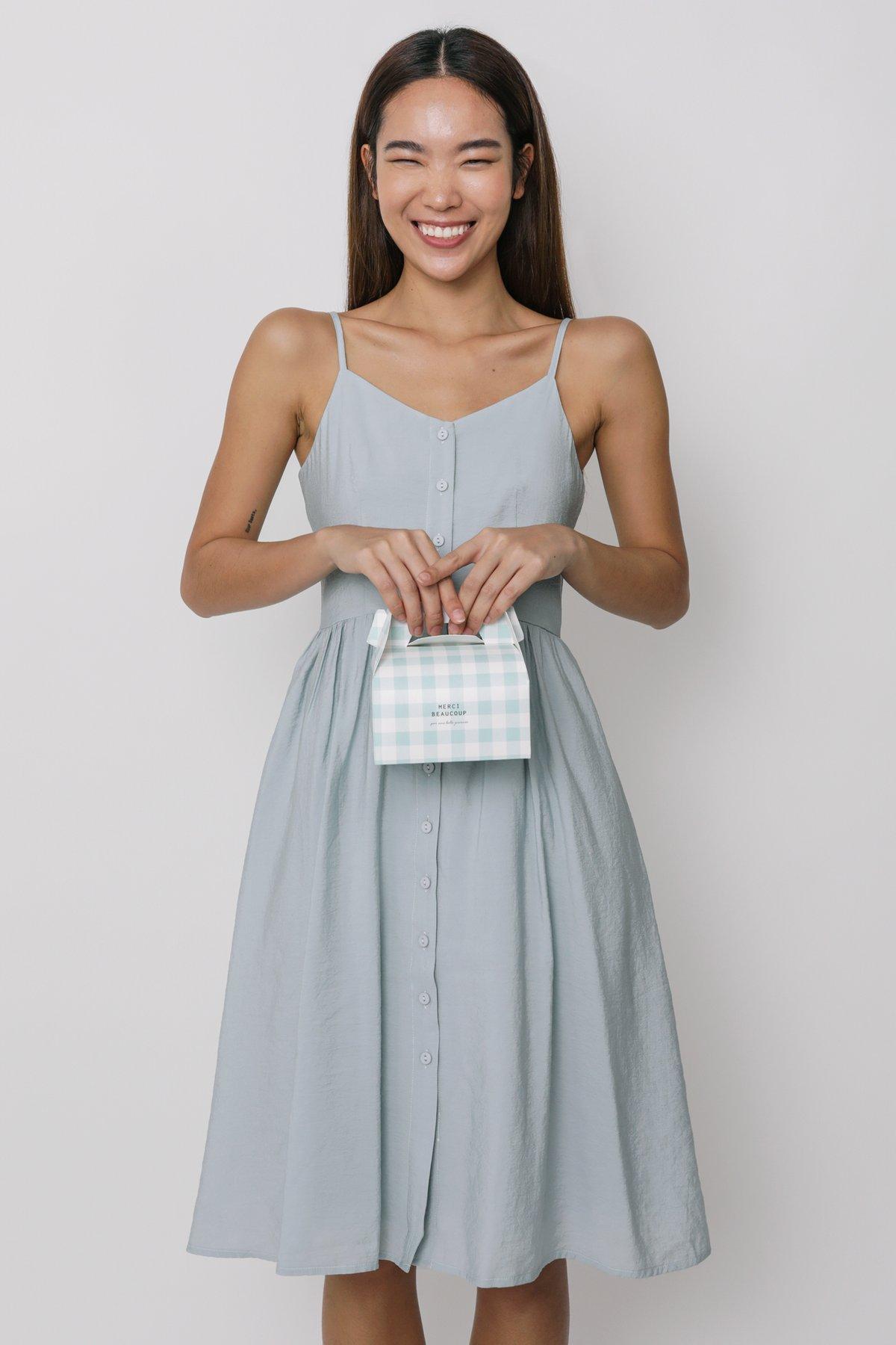 Brittany Button Down Flare Midi Dress (Blue)