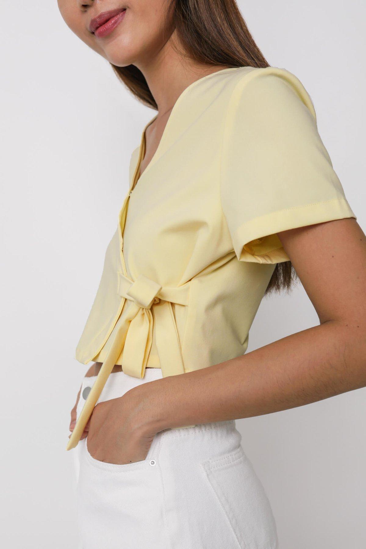 Calista Wrap Cropped Top (Daffodil)