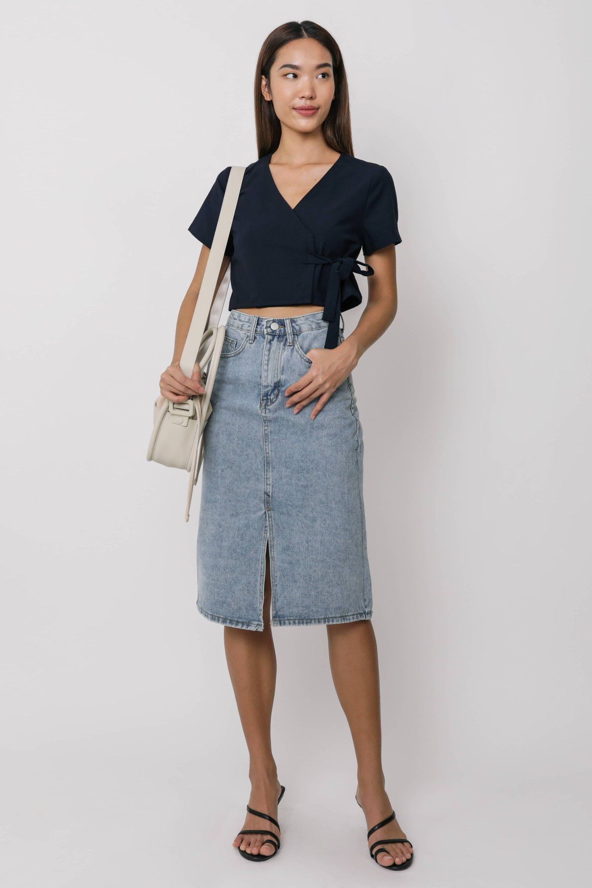 Calista Wrap Cropped Top (Navy)