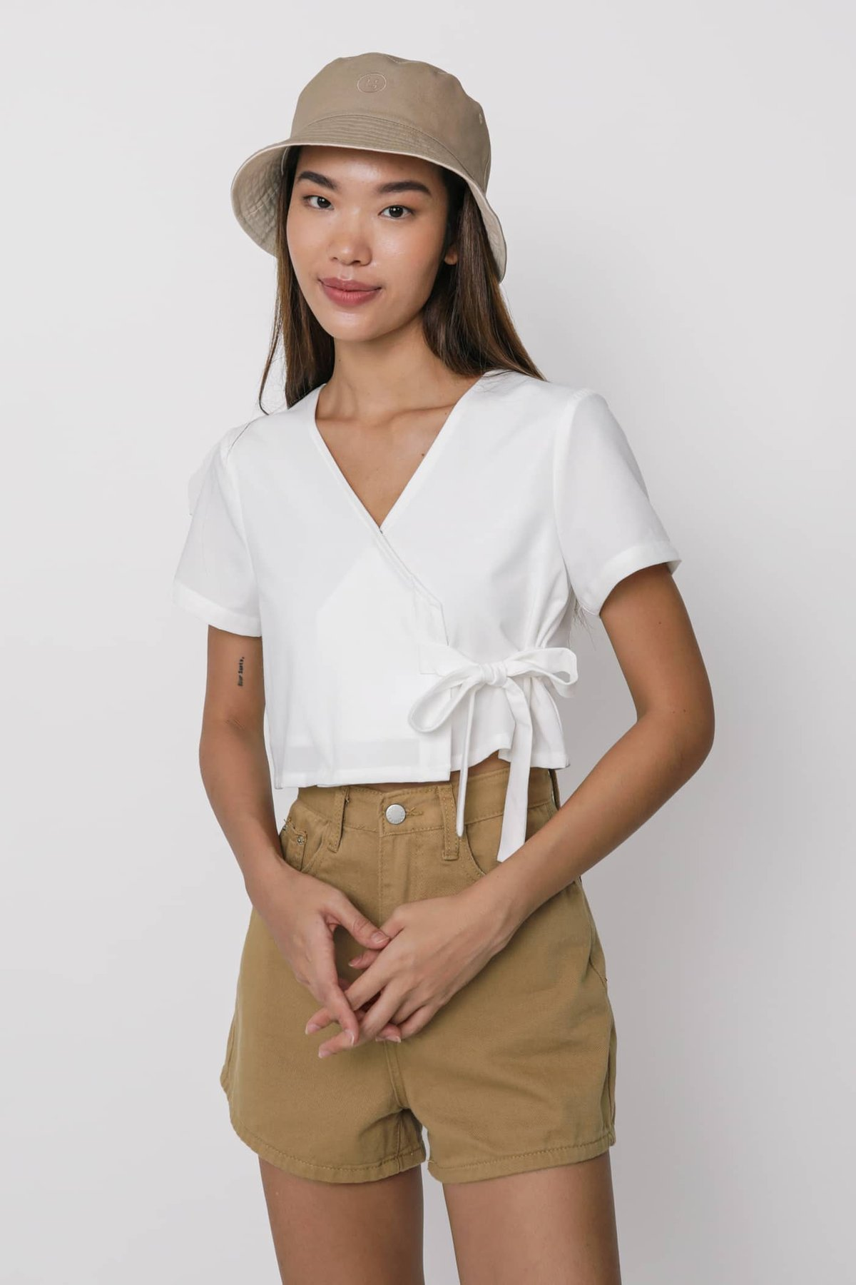 Calista Wrap Cropped Top (White)