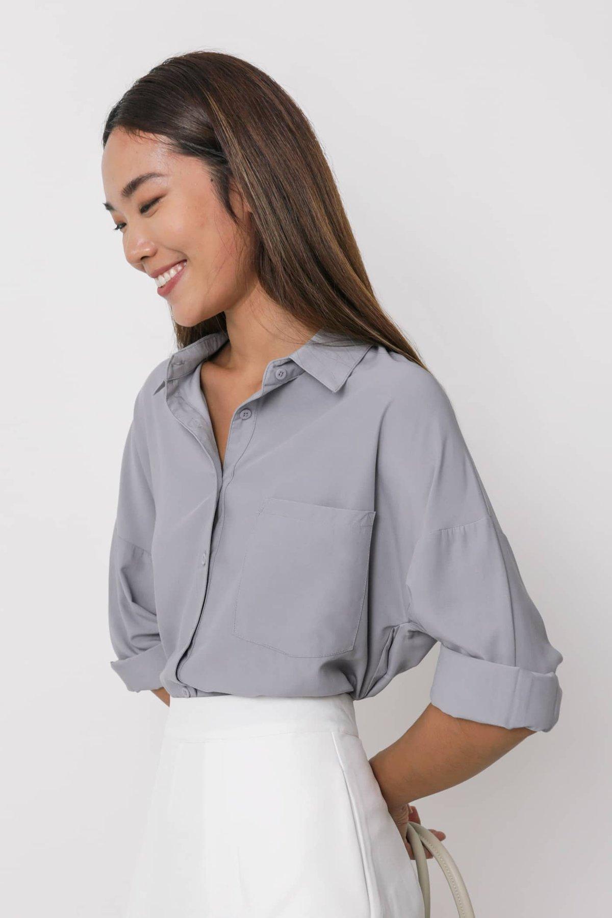 Canyon Sheer Button Down Shirt (Ash Lilac)