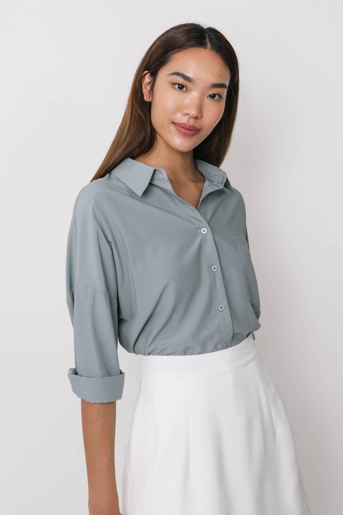 Canyon Sheer Button Down Shirt (Dusty Blue)