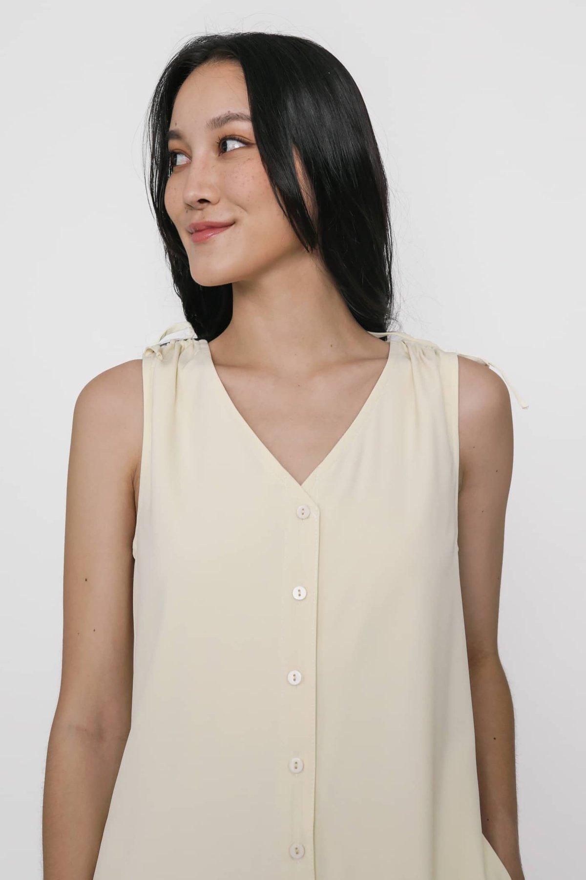 Cass Drawstring Shoulder Dress (Cream)