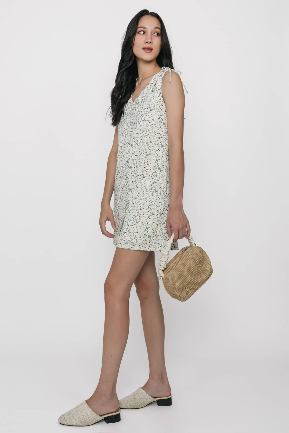 Cass Drawstring Shoulder Dress (Cream Florals)