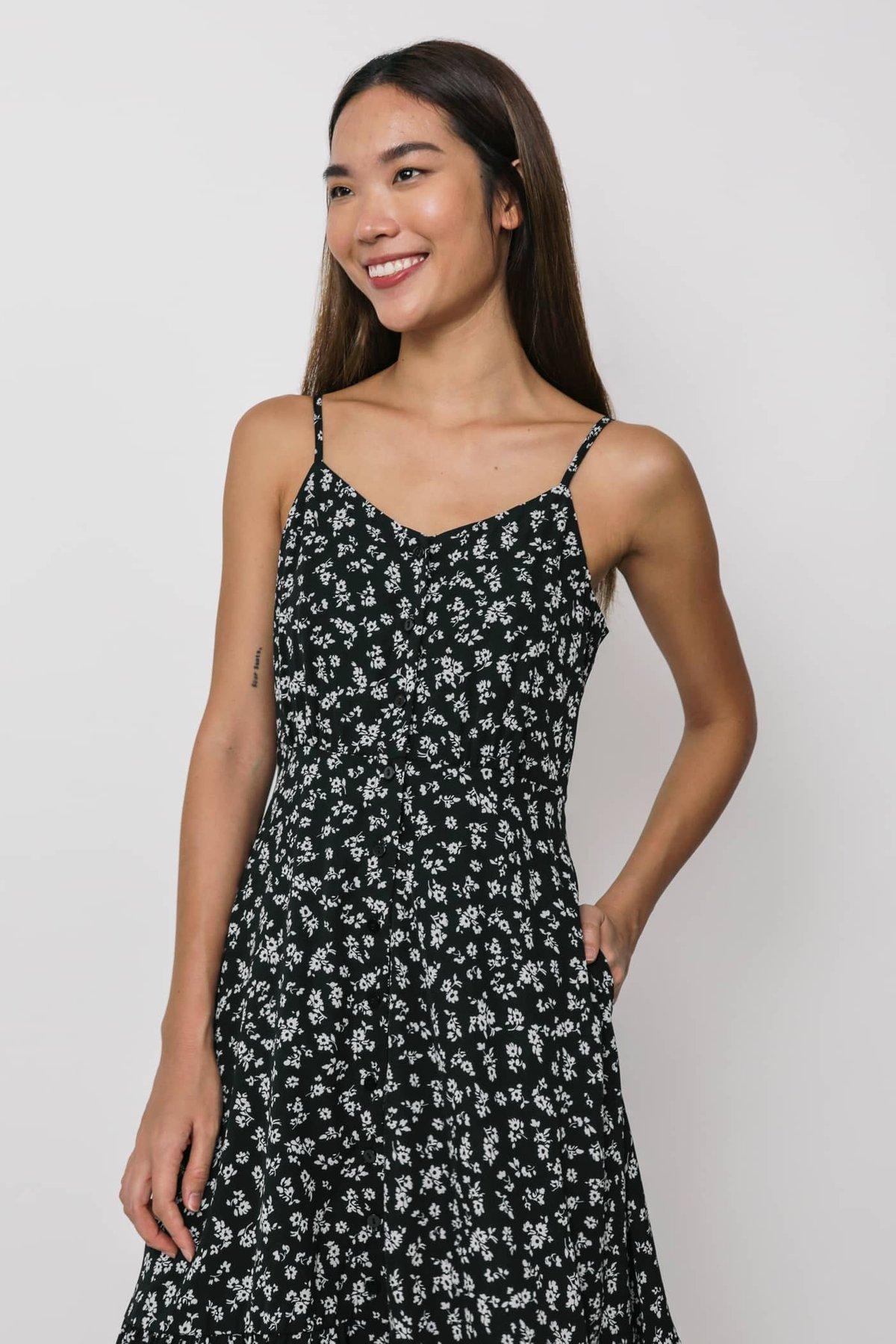 Darcie Drop Hem Dress (Black Florals)