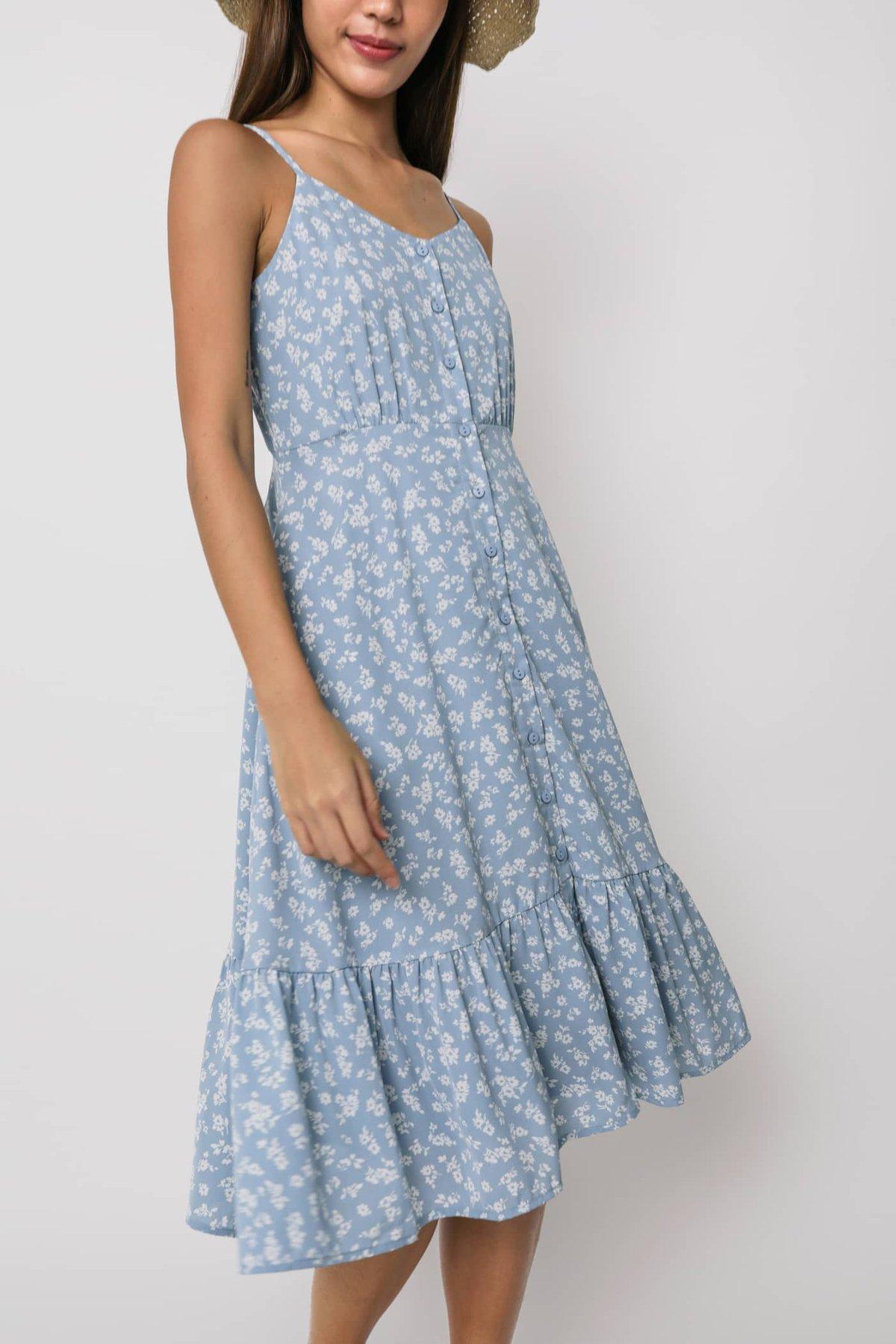 Darcie Drop Hem Dress (Blue Florals)