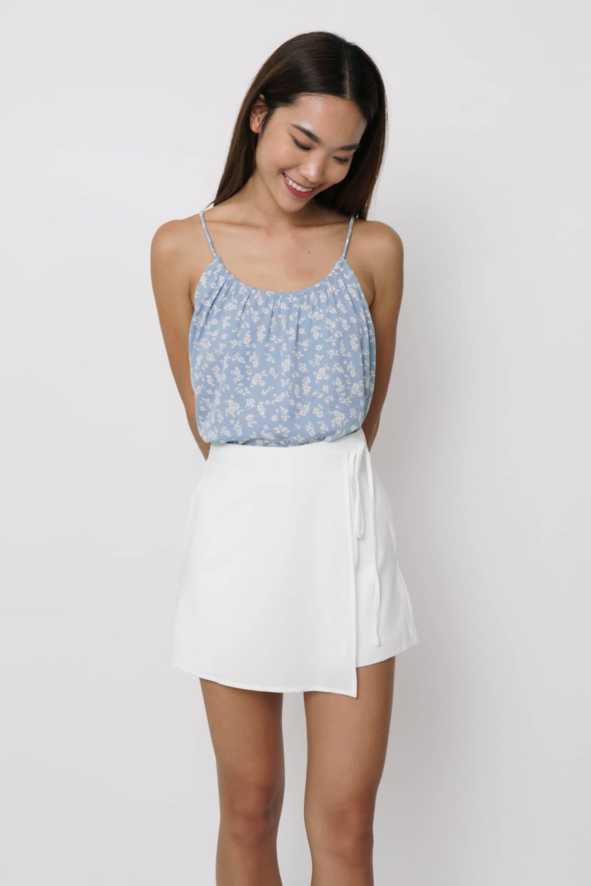 Duffy Spag Top (Blue Florals)