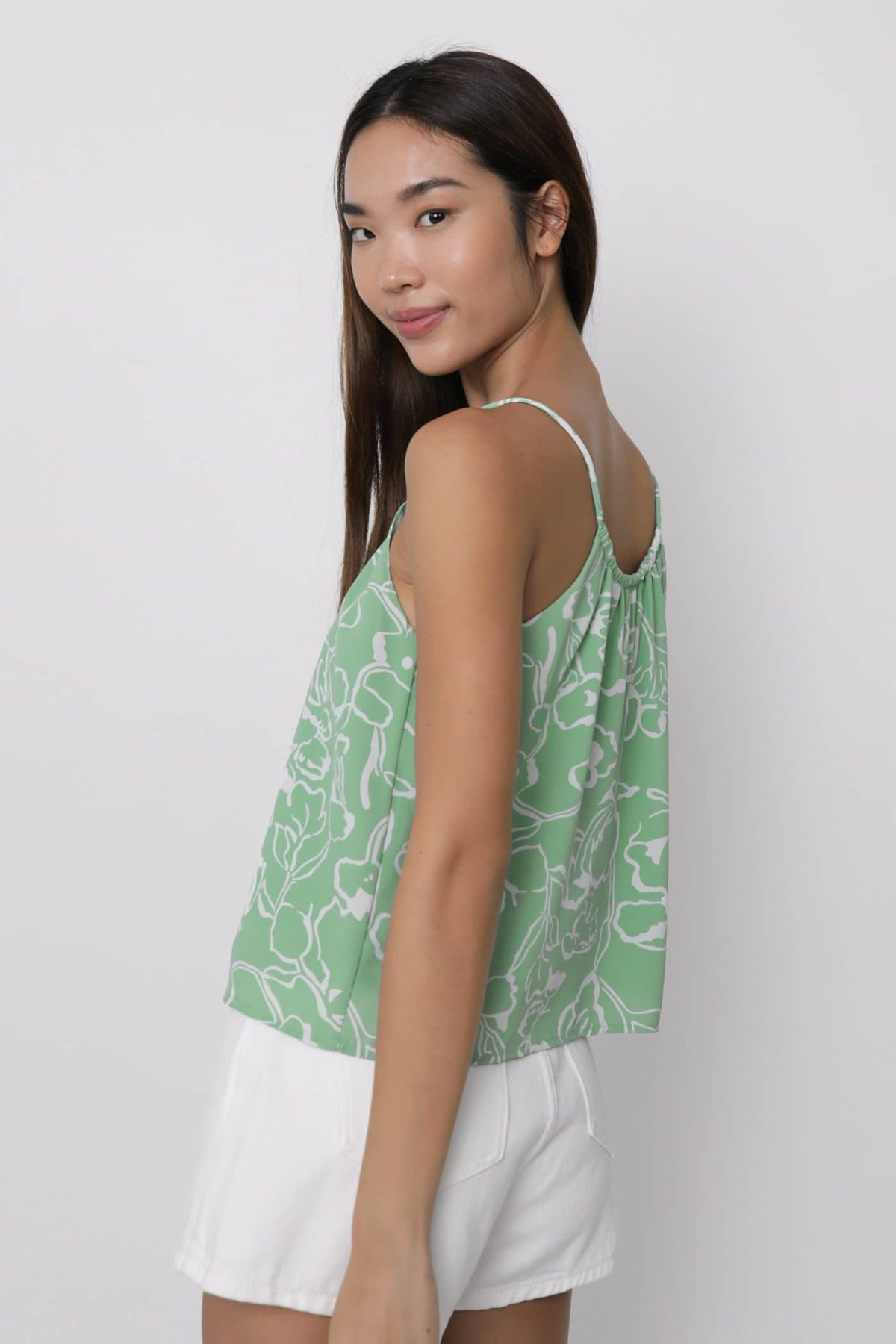 Duffy Spag Top (Green Florals)