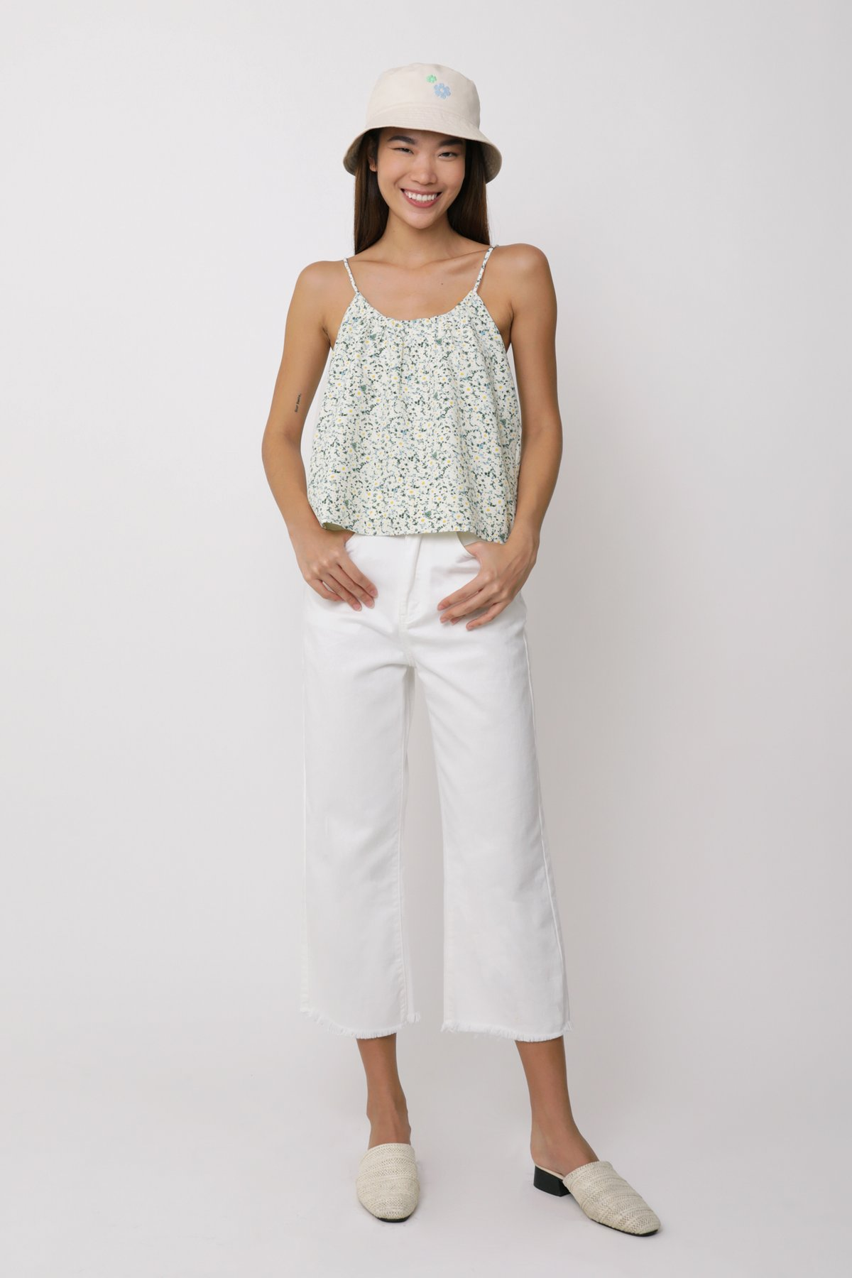 Duffy Spag Top (Cream Florals)