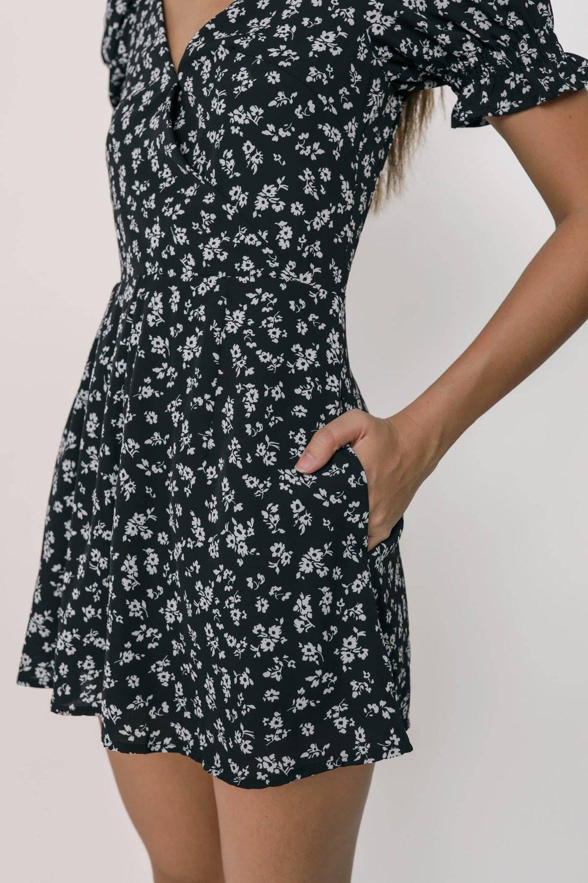 Elva Wrap Front Puffy Sleeve Romper (Black Florals)