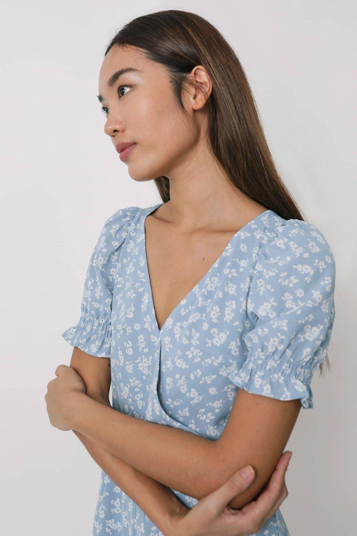 Elva Wrap Front Puffy Sleeve Romper (Blue Florals)