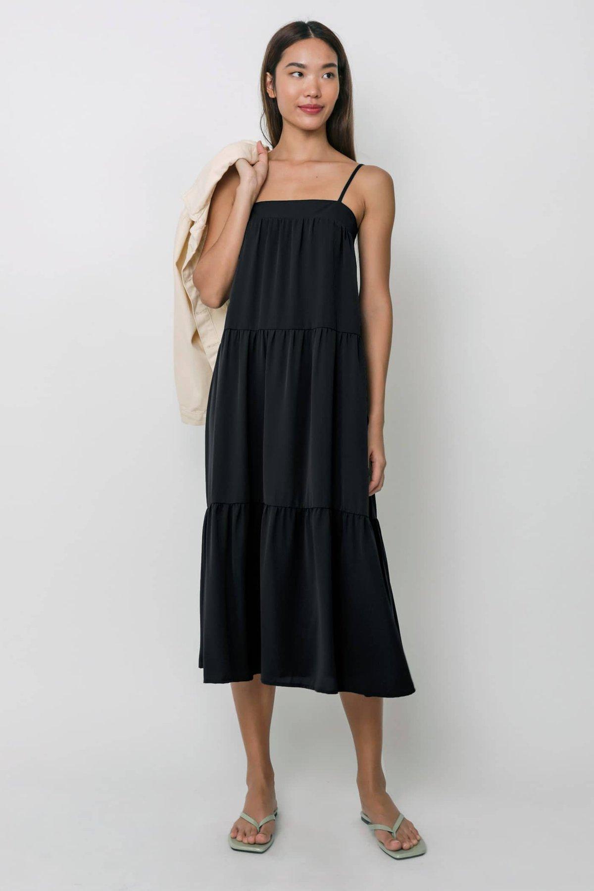 Frida Tent Midi Dress (Black)