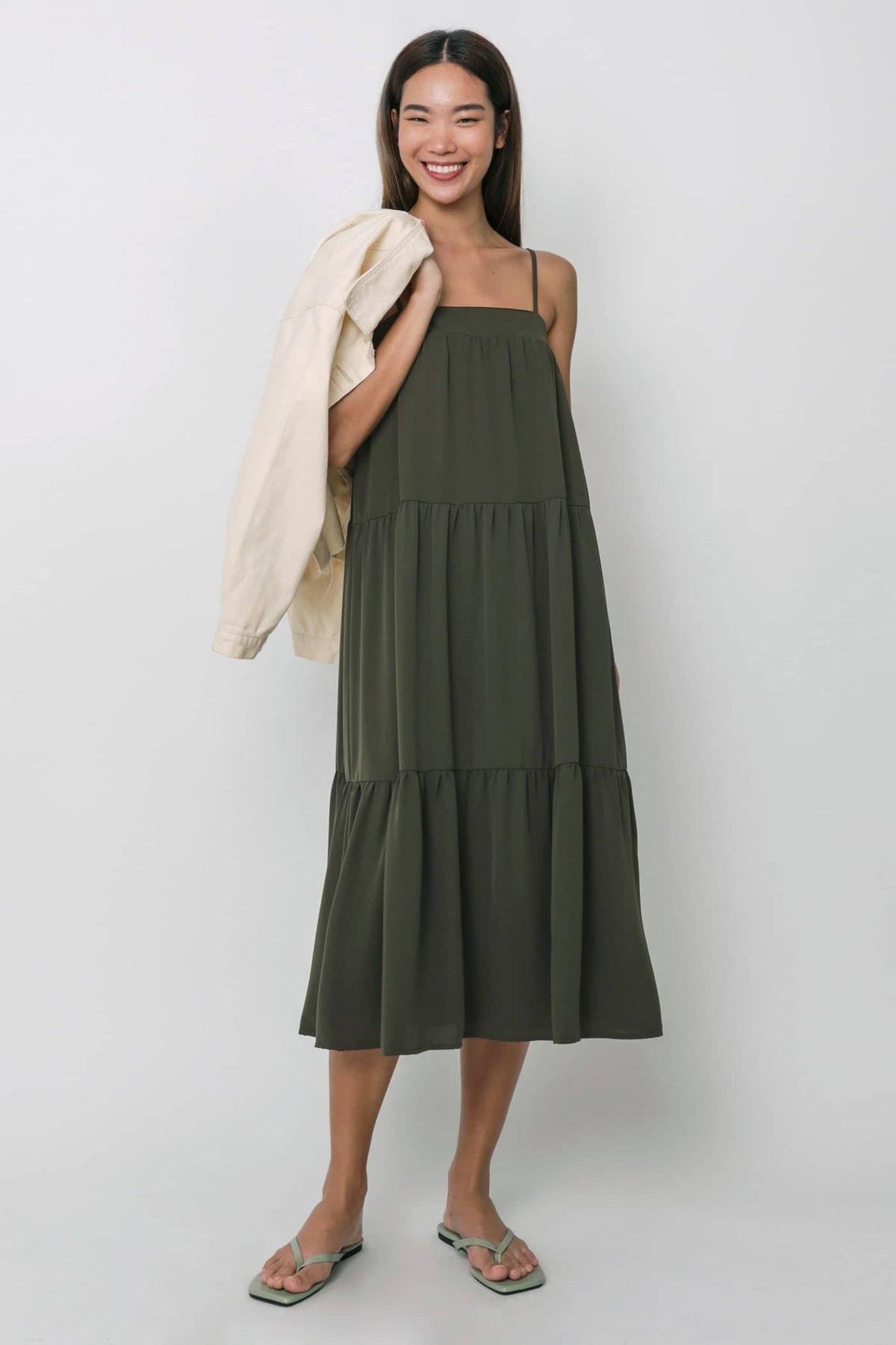 Frida Tent Midi Dress (Olive)