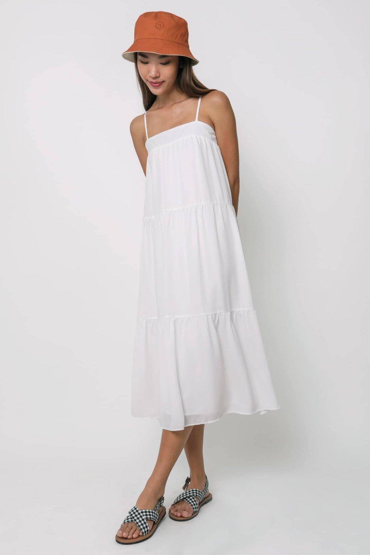 Frida Tent Midi Dress (White)