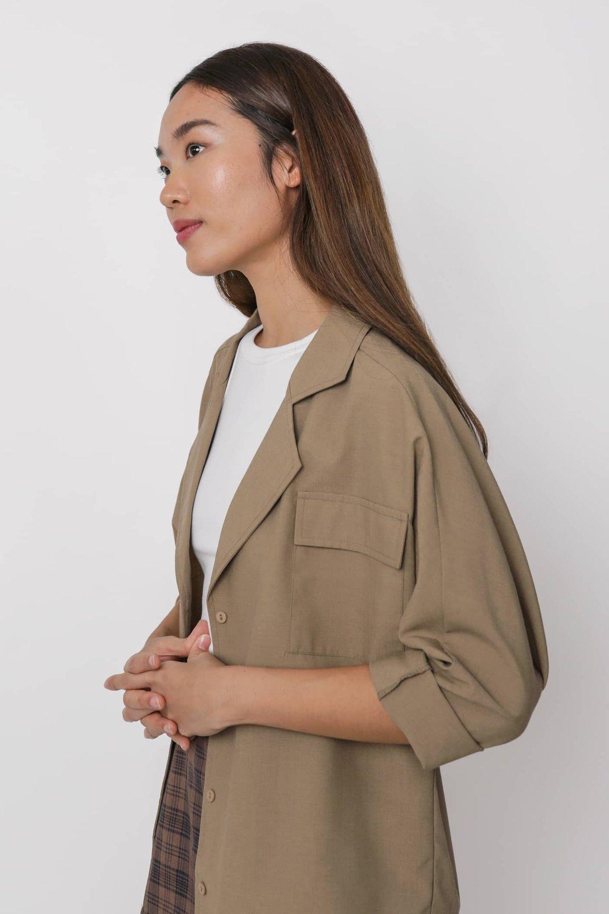 Lance Lightweight Cotton Blazer Shirt (Cedar)