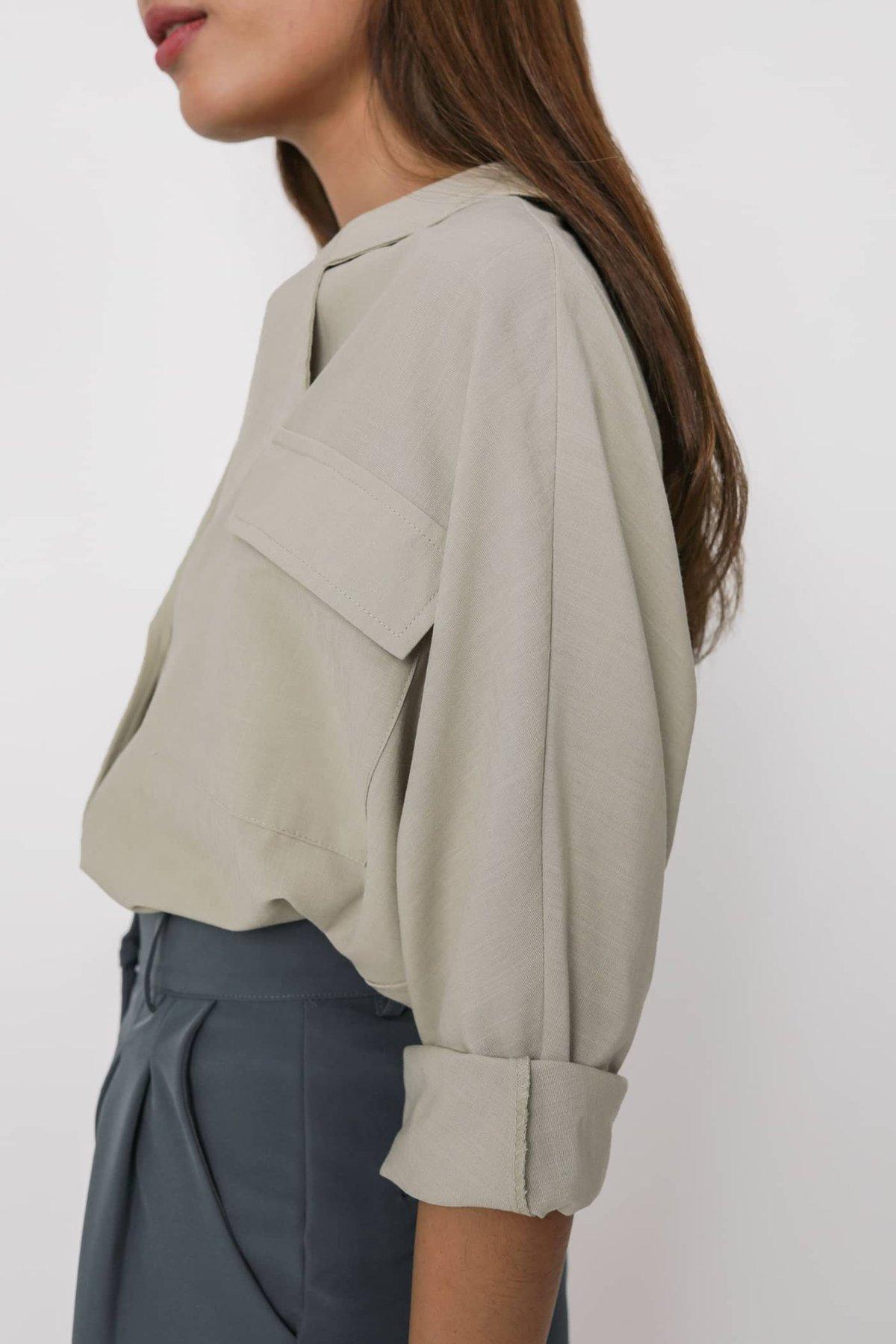 Lance Lightweight Cotton Blazer Shirt (Muted Sage)