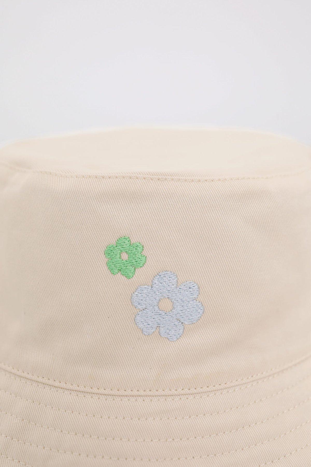 Reversible Bucket Hat (Cream florals/Khaki)