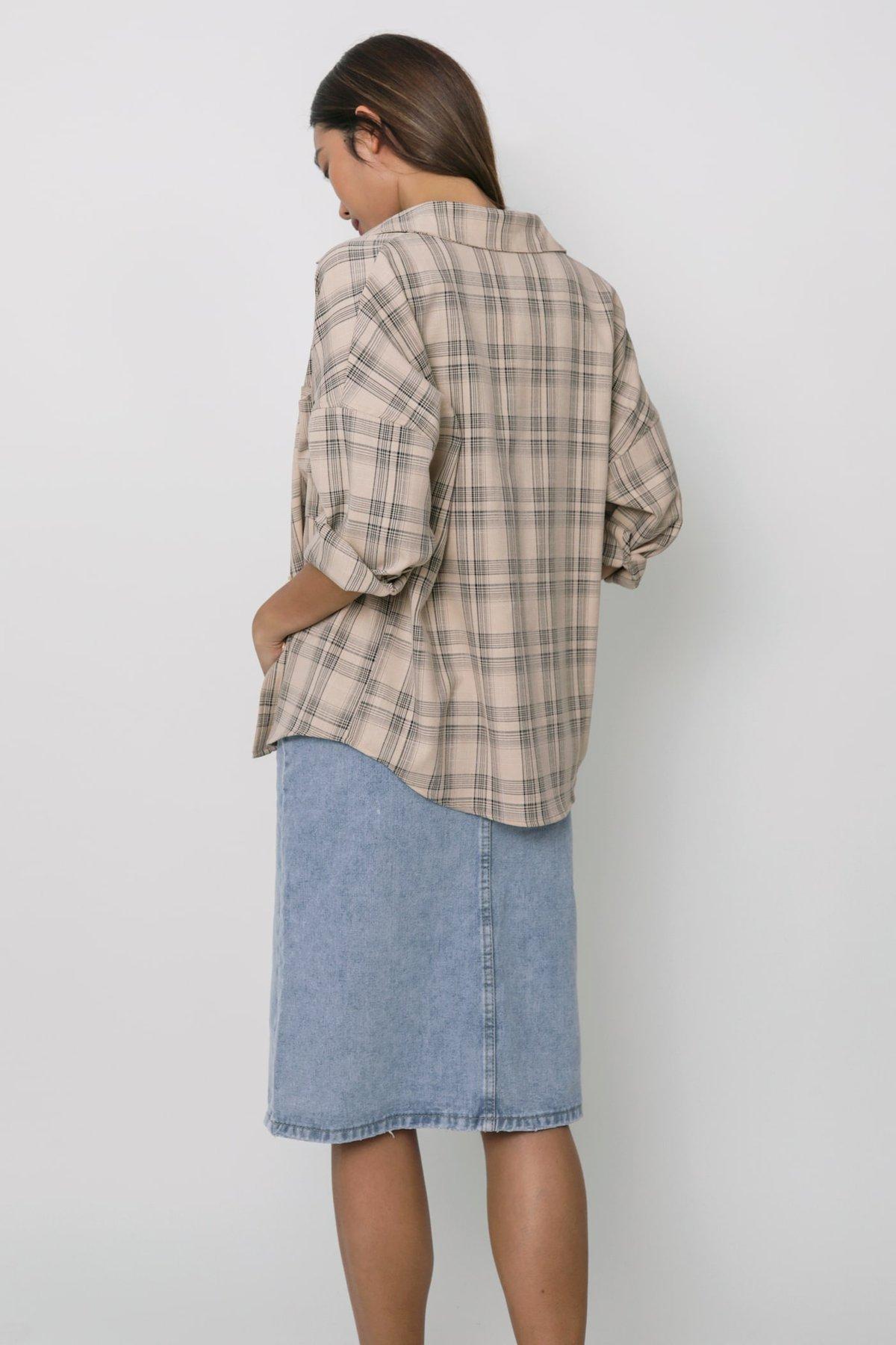 Sanford Boyfriend Shirt (Beige Plaids)