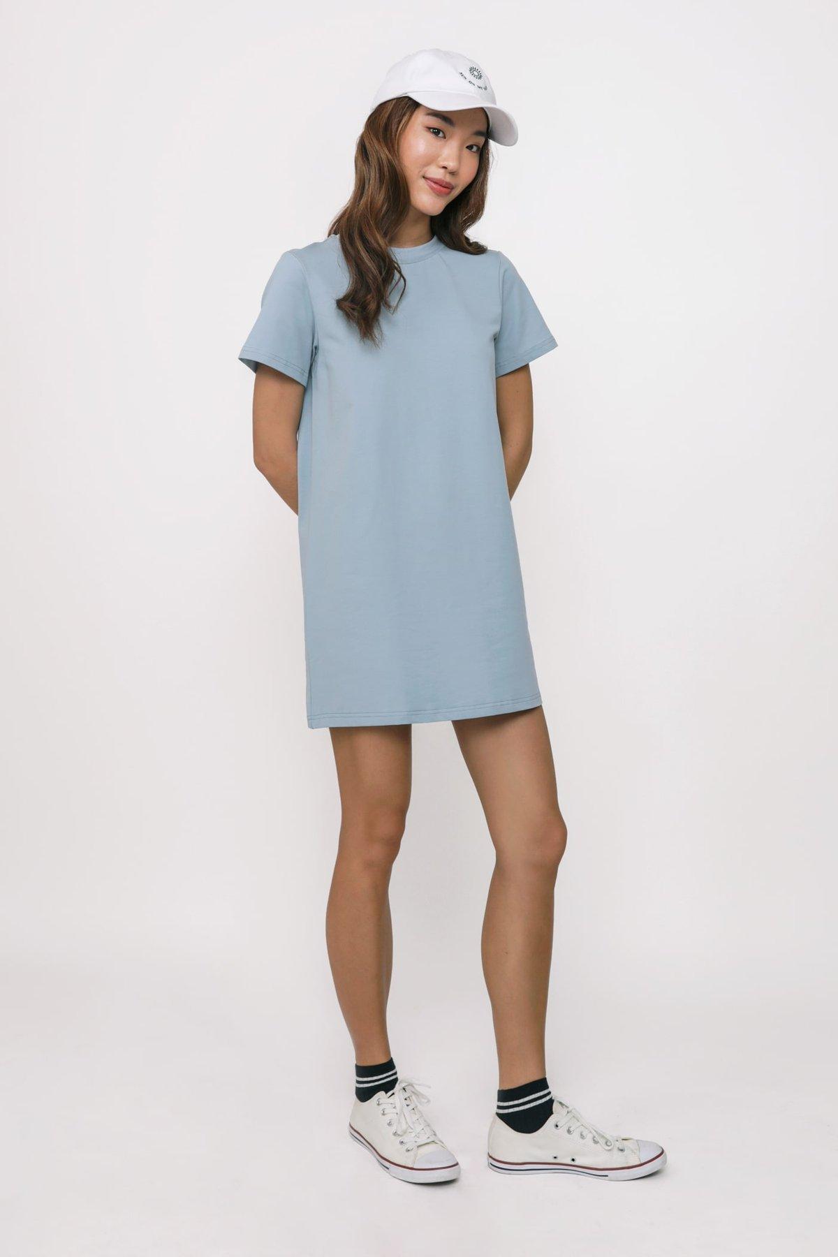 Ariane T-Shirt Dress (Blue)