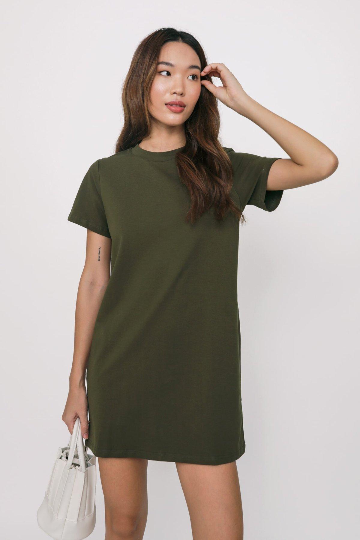 Ariane T-Shirt Dress (Olive)