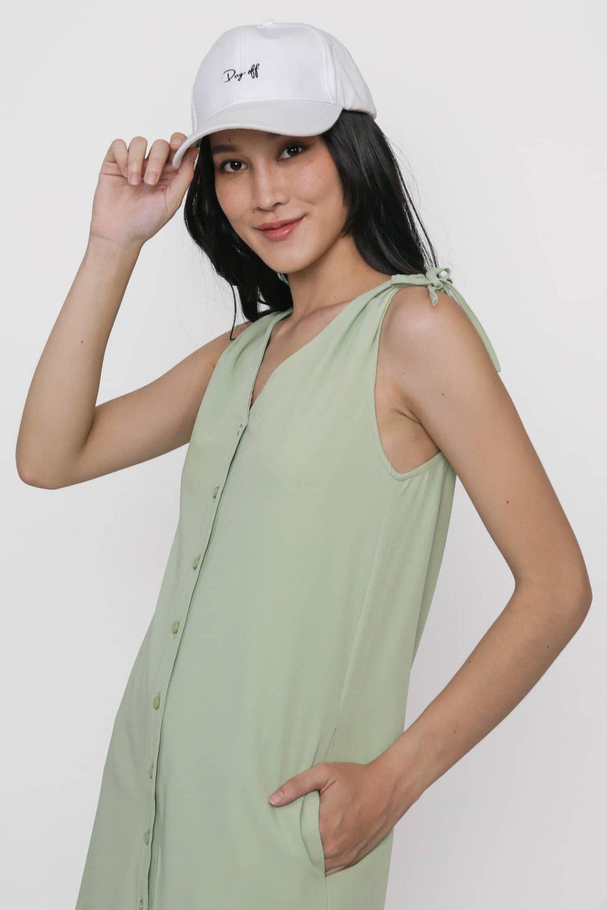 Cass Drawstring Shoulder Dress (Seafoam)