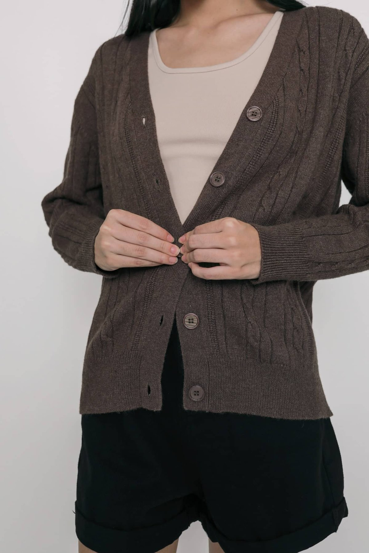Holmes Cable Knit Cardigan (Brown)
