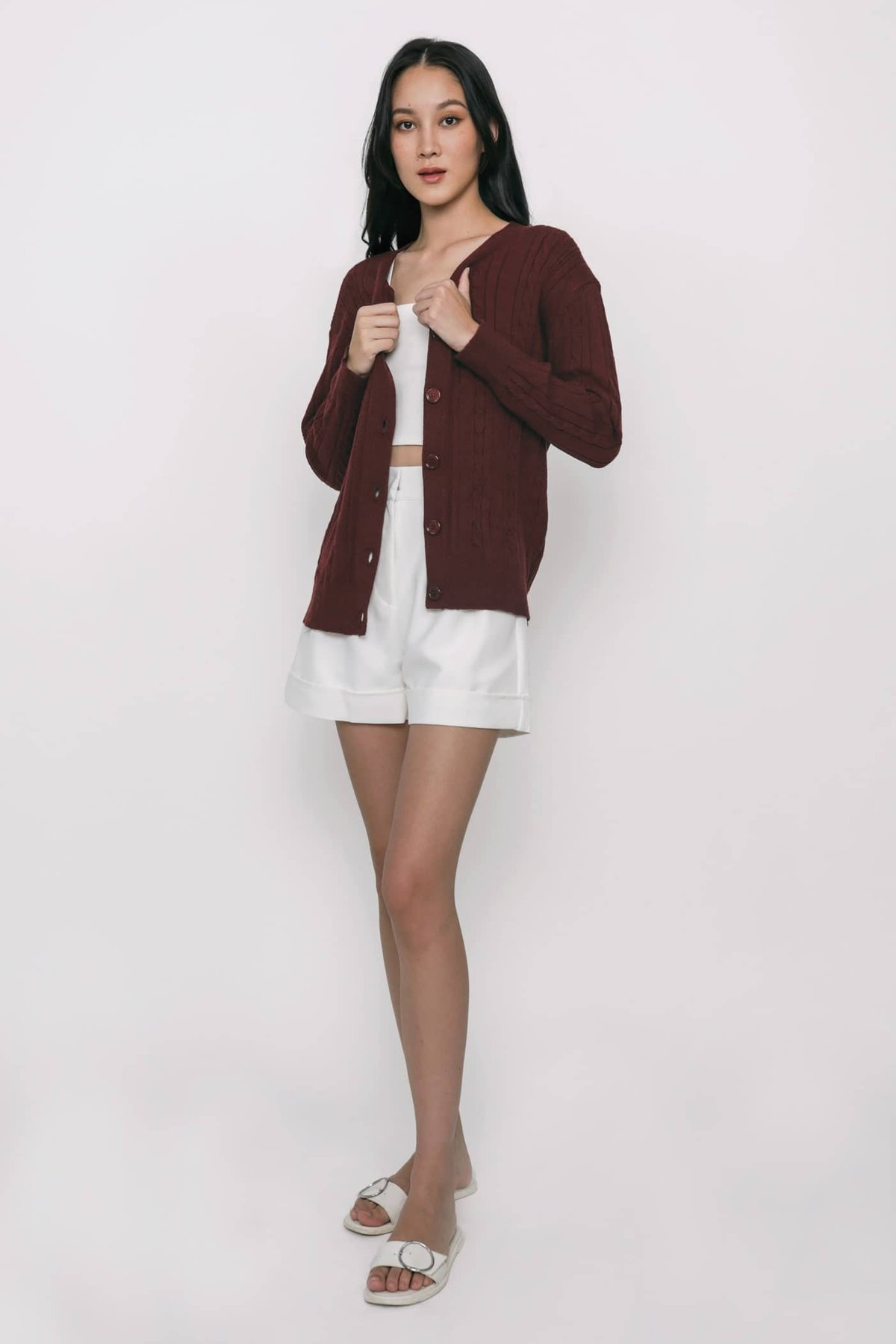 Holmes Cable Knit Cardigan (Maroon)