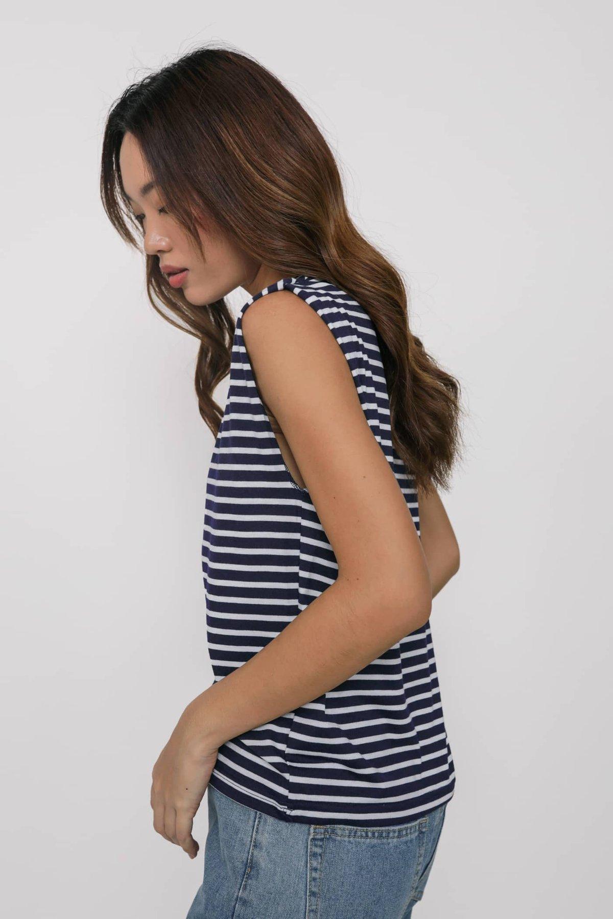 Kyller Muscle Tee (Navy Stripes)