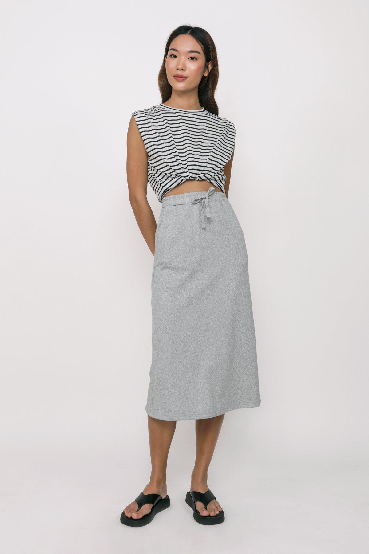Nic Jersey Cotton Midi Skirt (Grey)